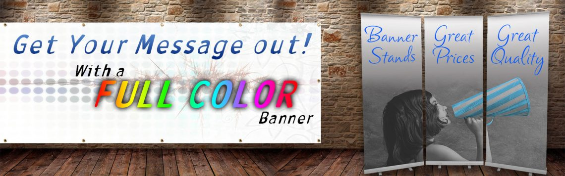 Posterhead full color large format printing of banners, mesh banners, and banner stands.